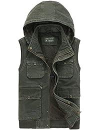 HAOYUXIANG Outdoor-Weste Mehrere Taschen mit Kapuze Baumwolle Herrenmode Verdickt Warme Freizeitjacke (Farbe : Armeegrün, Größe : L)