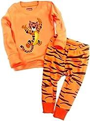 Babylike Dos Conjuntos de Pijama de Tigre para los Niños y Niñas de Algodón 100% (2-10 Años)