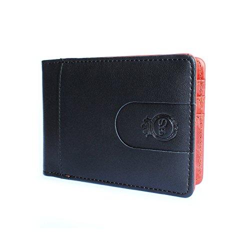 HELLO SIR® Leder Portemonnaie mit Geldklammer für Herren - Echtleder Geldbörse mit Geldscheinklammer für Männer - Kreditkartenetui Geldbeutel Brieftasche Portmonee Geldclip - Classic (Schwarz/Braun)