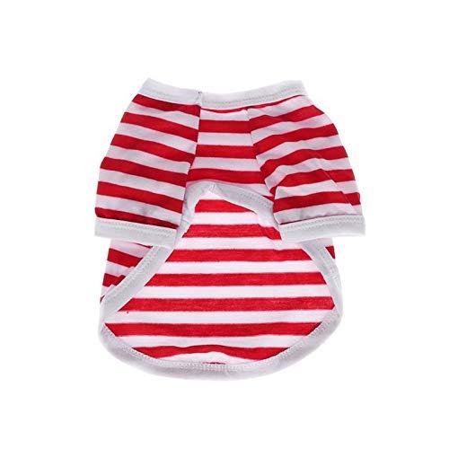 7°MR 1 STÜCK Chic Fashion Komfortable Stilvolle Atmungsaktive Navy Streifen Haustier Hund Weste Sommer Kleidung Hund Kostüm Welpen T-shirt (Color : Rot, Size : XS)