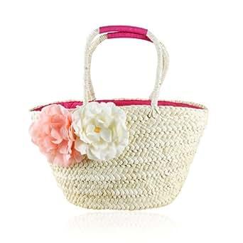 Graceful Flower Shoulder/Hand Straw Bag, Cornhusk Tote Bag