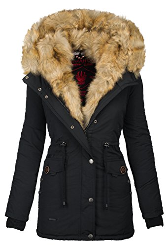 Navahoo 2in1 Damen Winter Jacke Parka Mantel Winterjacke warm Fell B365 [B365-Schwarz-Gr.S]