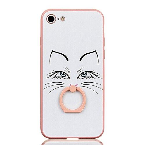 Voguecase Pour Apple iPhone 7 Plus 5,5, Bague Support à 360 degrés TPU avec Absorption de Choc, Etui Silicone Souple Transparent, Légère / Ajustement Parfait Coque Shell Housse Cover pour Apple iPhone Pink-chat blanc 06