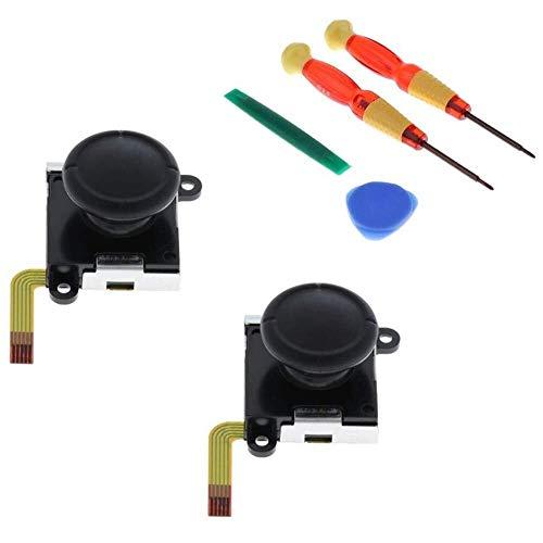 Yangyme Spielzubehör 2 Pack Links/Rechts Joystick Analog Game Pad Rocker + Kunststoff Aufhebeln Tool + Magnetische Schraubendreher for Schalter NS Joy-Con Controller