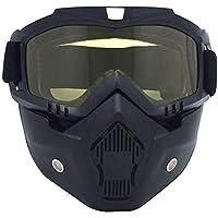 a7d9efecd1de99 MSYOU Harley Masque de Moto avec lentilles Jaunes Protection UV Lunettes de  Soleil pour Moto Moto