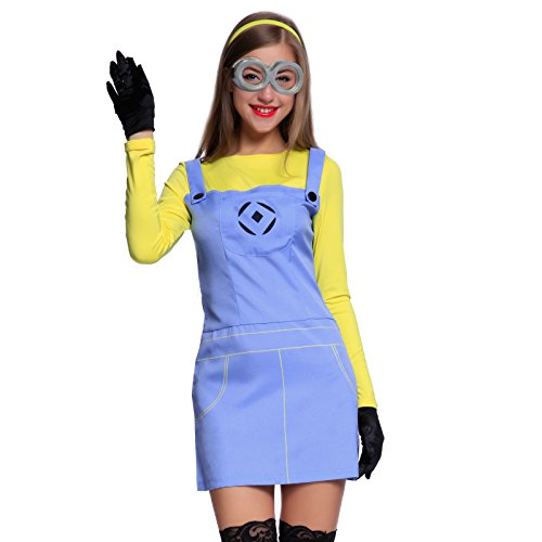 Erwachsene Cosplay Minions Minion Kostuem Despicable Me Fancy Dress Damenkostuem Overall f Halloween Karneval Kostuem