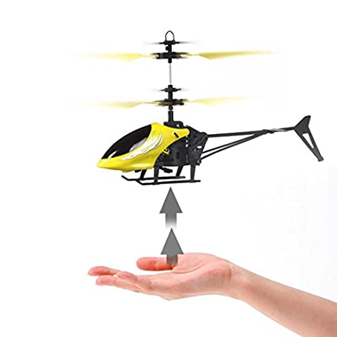 Tonwalk NO8013 Flying RC Helicopter Aircraft Infrared Induction Mini Flashing Light Remote Toys UFO for Kids Over 8 Years Old (Yellow)