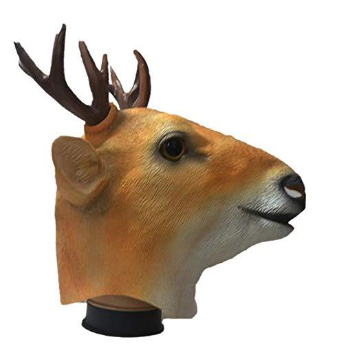 IGZAKER Máscara de látex de Ciervo Máscara de Sika de Animal simulado Protección Ambiental Creativa Ciervo Fiesta de Disfraces de Halloween Sombreros