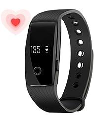 Smart Armband - Fitness Armband mit Pulsuhr - Aktivitätstracker - Smart Pedometer mit Schrittzähler Uhr / Kalorienzähler/ Schlafmonitor / Call Alert für iPhone und Android Smart Phone (Schwarz)