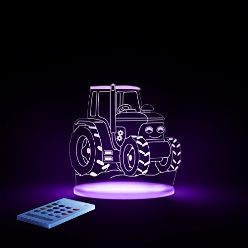 Aloka Traktor Motiv Nachtlicht - Kinderzimmer Baby LED Lampe Farbwechsel Fernbedienung Schlafmodus, Mehrfarbig - 4