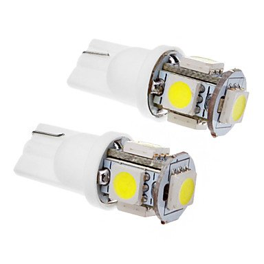 GANTA 2 Pcs T10 1.5W 5x5050SMD 100-120LM 6000K Cool White Light LED Bulb (12V) , cool white