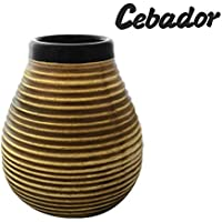 Cebador Ceramic Honey | Yerba Mate Cup with Stripes | Easy to Clean