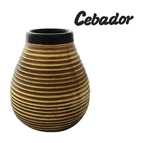 Mate Becher aus Keramik Honig-Bienenstock | mit Streifen | leicht zu reinigen | von Cebador