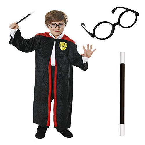 Sofias Closet Childrens Fancy Dress Wizard Harry Potter Robe Cape Hogwarts Glasses Wand Set (Potter Roben Wizard Harry)