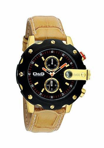 D&G Dolce & Gabbana DW0363 - Orologio da polso da uomo, cinturino in pelle colore beige