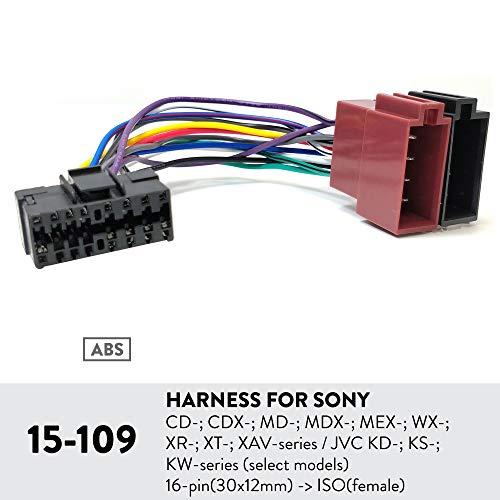 UGAR 15-109 Harness for Sony CD-; CDX-; MD-; MDX-; MEX-; WX-; XR-; XT-; XAV-Series/JVC KD-; KS-; KW-Series (Select Models) 16-pin(30x12mm) -> ISO(Female) - Jvc-serie