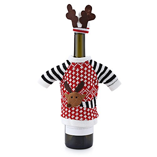 joymod bottiglia di vino di Natale Elk pattern maglia di vacanze invernali