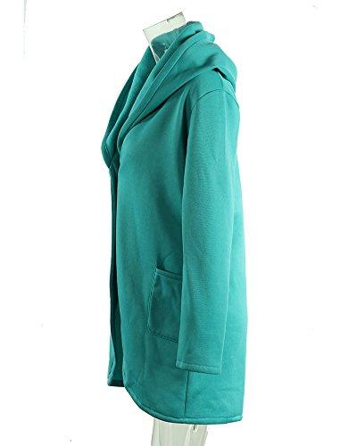 Femme Manteaux à Capuche Bouton Blouson Hoodie Veste Jacket Casual Outwear Sweatshirt Lac Bleu