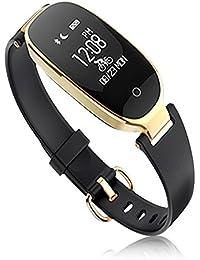 SLGJYY S3 Tensiómetro de Pulso Reloj Mujer Salud Resistente al Agua Bluetooth Llevar Podómetro Pulsera,