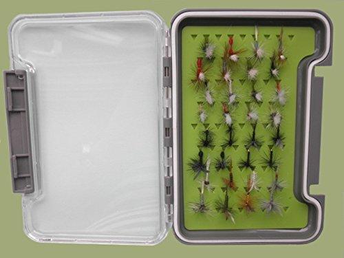 32Parachute, KLINKHAMMER und traditionelle Dry Fliegen in eine Forelle Fliegen Silikon Einsatz Box, benannt Fliegen -