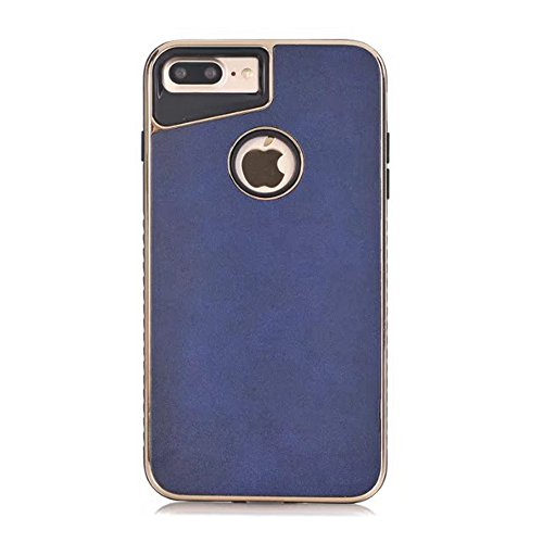 Dual Layer PC + TPU Eletroplating PC Retro Crazy Pferd Leder Skin Shell Cover Case für iPhone 7 Plus und 8 Plus ( Color : Black ) Blue