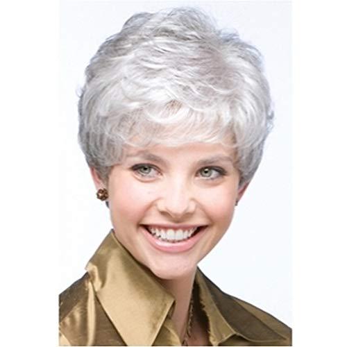 NAWIGS Dame Silber Grau Kurz Gelockt Perücken zum Alt Frau Tief Wellig Flauschige Cosplay Kostüm Synthetik Voll Haar Perücke + Perücke Deckel 80