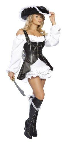 Pirate Kostüm Walk The Plank - Piratin Kostüm Deluxe Karnevalskostüm Damen - schwarz/weiß - XS/S