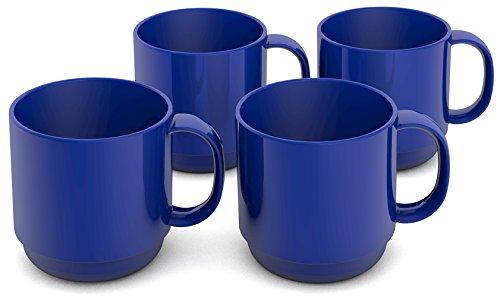 Ornamin Becher 220 ml blau 4er-Set (Modell 508) / Mehrweg-Becher Kunststoff, Kaffeebecher, Henkelbecher