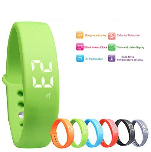 FANCY CHERRY W5 3D LED Smart Armbanduhr Sportuhr Schrittzähler Gesundheit Armbanduhr Aktivitätstracker FitnessArmband Kalorienzähler Schlaftracker (W5-Blue)