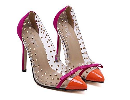 Faraly Remaches Con Cuentas De Mujeres Zapatos De Boca De Arco Botas De Poca Profundidad Zapatos De Punta De Arco Desnudos Zapatos De Pies Color Naranja