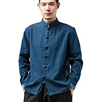 Camisas De Estilo Tradicional Chino para Hombres Tang Suit Kung Fu Jacket Casual Shirt,D-XL