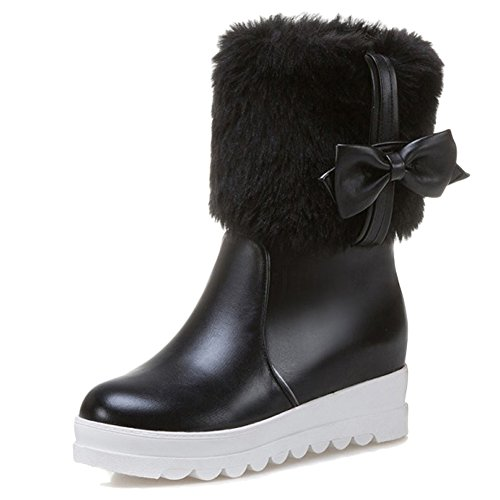 Minetom Damen Mädchen Niedlich Winter Warm Halten Plüsch Kurzschaft Stiefel Mode Bowknot Kurz Stiefeletten Flache Schuhe Ankle Boots Schwarz EU 37 (Boot Casual Waterproof Suede)