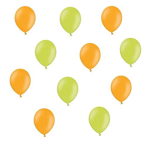 50 x Luftballons je 25 Orange / Apfelgrün - ca. Ø 28cm - 50 Stück - Ballons als Deko, Party, Fest, Geburt, Hochzeit, Geburtstag, Junge, Mädchen- Farbe Orange / Apfelgrün - für Helium geeignet - twist4®