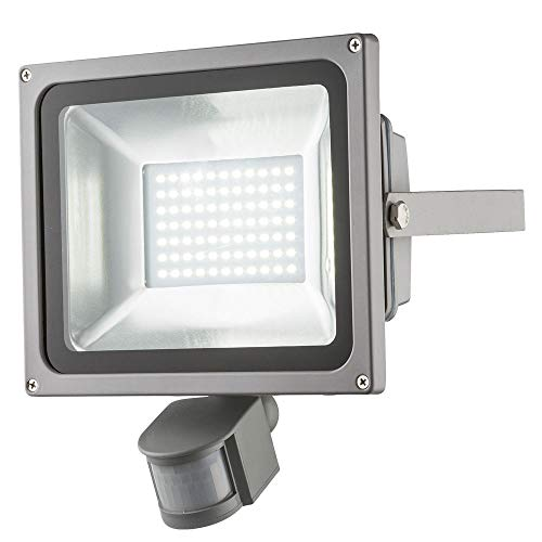 LED Bau Wand Strahler Außen Beleuchtung Lampe Bewegungsmelder Druckguss silber Leuchte Globo 34104S