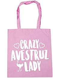 HippoWarehouse Crazy Avestruz Lady Bolso de Playa Bolsa Compra Con Asas para gimnasio 42cm x 38cm