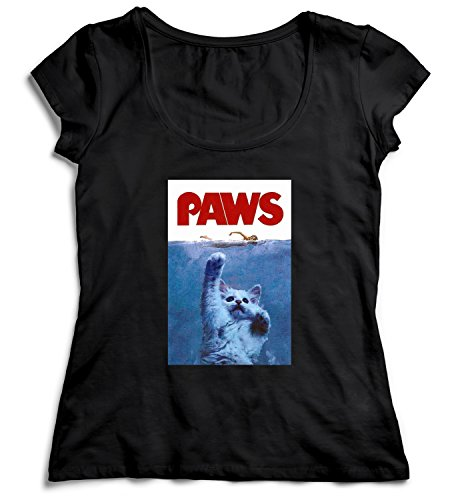 Paws Jaws Parody T-shirt for Women, Black