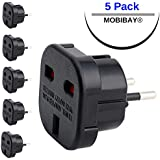 MOBIBAY 5 x UK to EU Europe Travel Power Plug Adapter (Type C) for Most European Countries Spain, France, Italy, Portugal, Germany, Netherlands, Greece, Poland, Turkey and More (BLACK)
