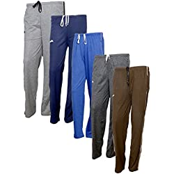 IndiWeaves Women's Premium Cotton Lower with 1 Zipper Pocket and 1 Open Pocket(Pack of 5)_Grey::Blue::Brown::Grey::Brown-40