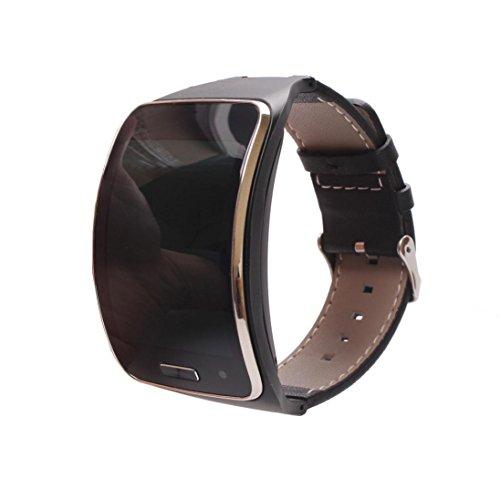 kingko® Fitness tracker armband Leder Uhr Handgelenk Bügel Band für Samsung Gear S SM-R750 Intelligente Uhren (schwarz)
