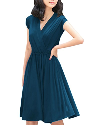 Allegra K Women Crossover Deep V Neck Elastic Waist Dress Dark Blue M
