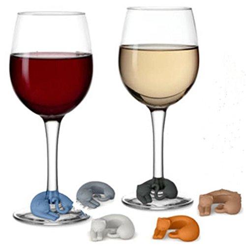 HENGSONG 6 Stück Katzen Glasschmuck Glasmarkierer Anhänger, Weinglas Anhänger, Wein Glas Charms, Weinglasanhänger, Markierer für Weingläser Set, Glasmarkierer