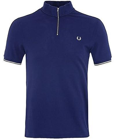 Fred Perry Hommes zip neck pique polo shirt Français De La Marine S