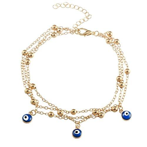Minzhi Türkische Augen Perlen Frauen Fußkettchen Kette Mädchen Elegante Fußkettchen Armbänder Dame Strand Böhmen Armbänder Fußschmuck