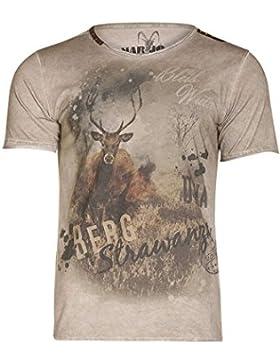 MarJo Herren Herren T-Shirt mit Hirsch Braun, Mud (Braun), L