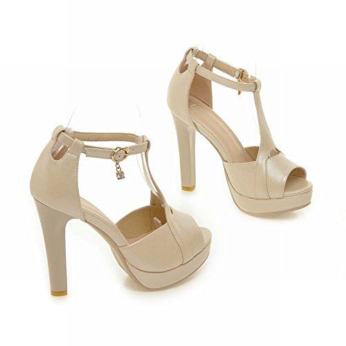 Mee Shoes Damen Peep toe T-Strap Plateau Sandalen Beige