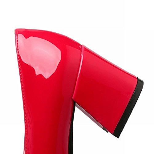 Mee Shoes Damen Blockabsatz Lackleder Geschlossen Pumps Rot
