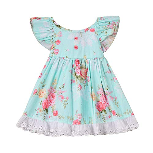 SHUBIHU Baby Mädchen Ärmellos Spitze Mode 2019 Mädchen fliegen Ärmel Print Lace Trim Princess Kleid (2-3 Jahre / 110, Himmelblau) - Mädchen Lace Trim Leggings
