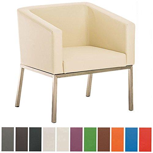 CLP Butaca de salón en acero inoxidable NALA, estilo retro, acolchado grueso 8 cm, altura del asiento 44 cm crema
