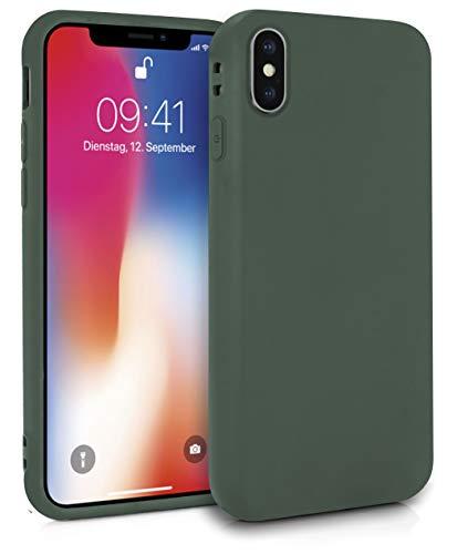 MyGadget Robuste Silikon Hülle TPU Case für Apple iPhone XS X - Matte Schutzhülle Silikonhülle Back Cover Ultra Kratzfest - Slim Handyhülle in Olivgrün -