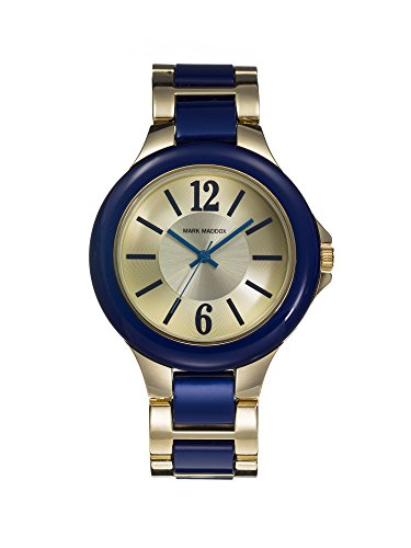Mark Maddox Women's Quartz Watch with Gold Dial Analogue Display and Blue Bracelet MP0002-35